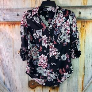 NWOT Iz Byer Button Down Roll Sleeve Floral Blouse Black White Pink XS